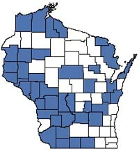 Counties shaded blue have documented occurrences for Moist Cliff in the Wisconsin Natural Heritage Inventory database.