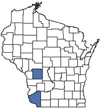 Counties shaded blue have documented occurrences for Algific Talus Slope in the Wisconsin Natural Heritage Inventory database.