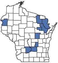 Counties shaded blue have documented occurrences for Bedrock Glade in the Wisconsin Natural Heritage Inventory database.