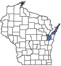 Counties shaded blue have documented occurrences for Alvar in the Wisconsin Natural Heritage Inventory database.