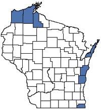 Counties shaded blue have documented occurrences for Great Lakes Dune in the Wisconsin Natural Heritage Inventory database.