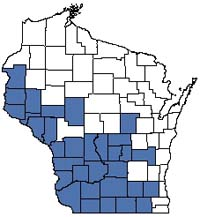 Counties shaded blue have documented occurrences for Dry Prairie in the Wisconsin Natural Heritage Inventory database.