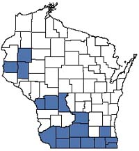 Counties shaded blue have documented occurrences for Dry-mesic Prairie in the Wisconsin Natural Heritage Inventory database.