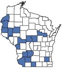 Counties shaded blue have documented occurrences for Sand Prairie in the Wisconsin Natural Heritage Inventory database.