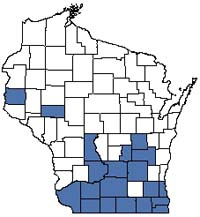 Counties shaded blue have documented occurrences for Mesic Prairie in the Wisconsin Natural Heritage Inventory database.
