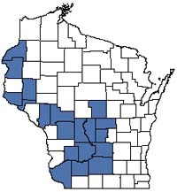 Counties shaded blue have documented occurrences for Oak Barrens in the Wisconsin Natural Heritage Inventory database.