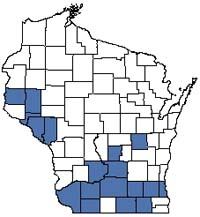 Counties shaded blue have documented occurrences for Oak Opening in the Wisconsin Natural Heritage Inventory database.