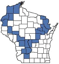 Counties shaded blue have documented occurrences for Pine Barrens in the Wisconsin Natural Heritage Inventory database.