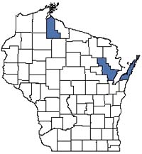 Counties shaded blue have documented occurrences for Great Lakes Barrens in the Wisconsin Natural Heritage Inventory database.