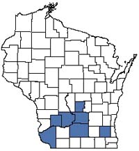 Counties shaded blue have documented occurrences for Eastern Red-cedar Thicket in the Wisconsin Natural Heritage Inventory database.