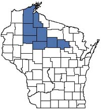 Counties shaded blue have documented occurrences for Lake--Deep, Soft, Drainage in the Wisconsin Natural Heritage Inventory database.