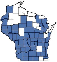 Counties shaded blue have documented occurrences for Floodplain Forest in the Wisconsin Natural Heritage Inventory database.