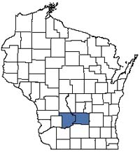 Counties shaded blue have documented occurrences for Moist Sandy Meadow in the Wisconsin Natural Heritage Inventory database.