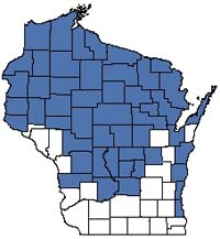 Counties shaded blue have documented occurrences for Northern Dry-mesic Forest in the Wisconsin Natural Heritage Inventory database.