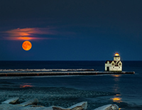 Super Moon Over Kewaunee Harbor by Brent Hussin.