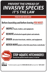 Aquatic invasives species sign