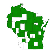Known county distribution of narrow-leaved cattail
