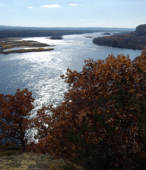 The view of the Lower WI State Riverway from Ferry Bluff SNA