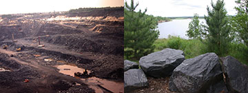The Jackson County Iron Mine, before and after reclamation.