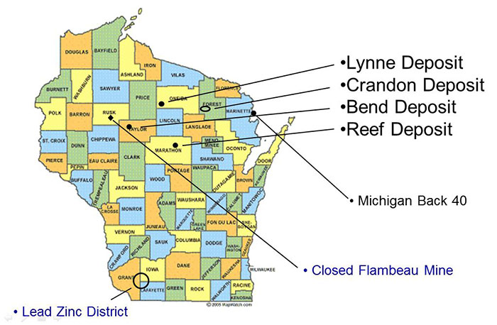map of metallic deposits in Wisconsin