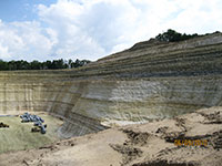 An open pit sand mine.