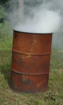 A burn barrel
