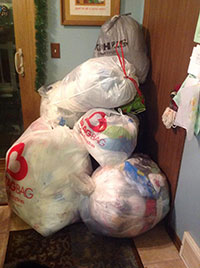 Collection of plastic bags for recycling at a drop-off location