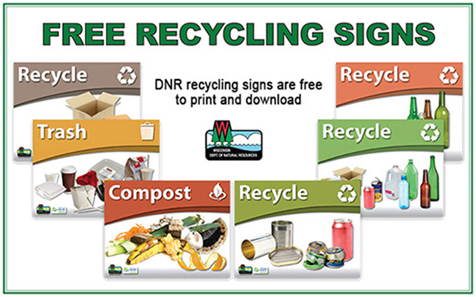 DNR recycling signs are free to print and download. (Sample images of six DNR signs are visible.)