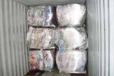 Bales of plastic bags and film ready for sale.