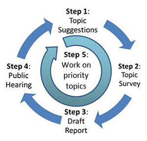 Diagram of the triennial review process