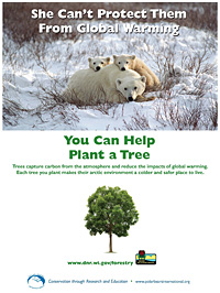 A flyer that says 'She can't protect them from global warming... You can help. Plant a tree.'