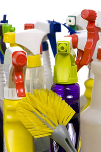 Assorted household cleaner spray bottles and a toilet scrub brush