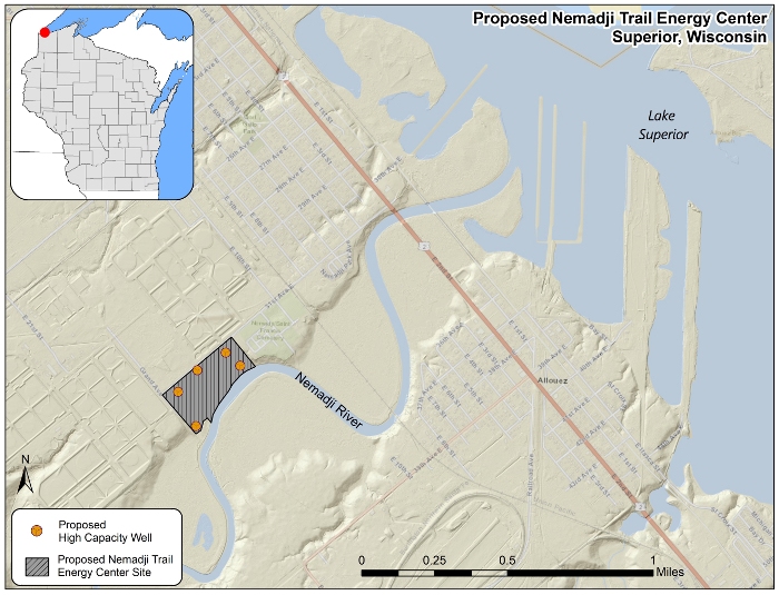 Map of Proposed Nemadji Trail Energy Center, Superior, Wisconsin.