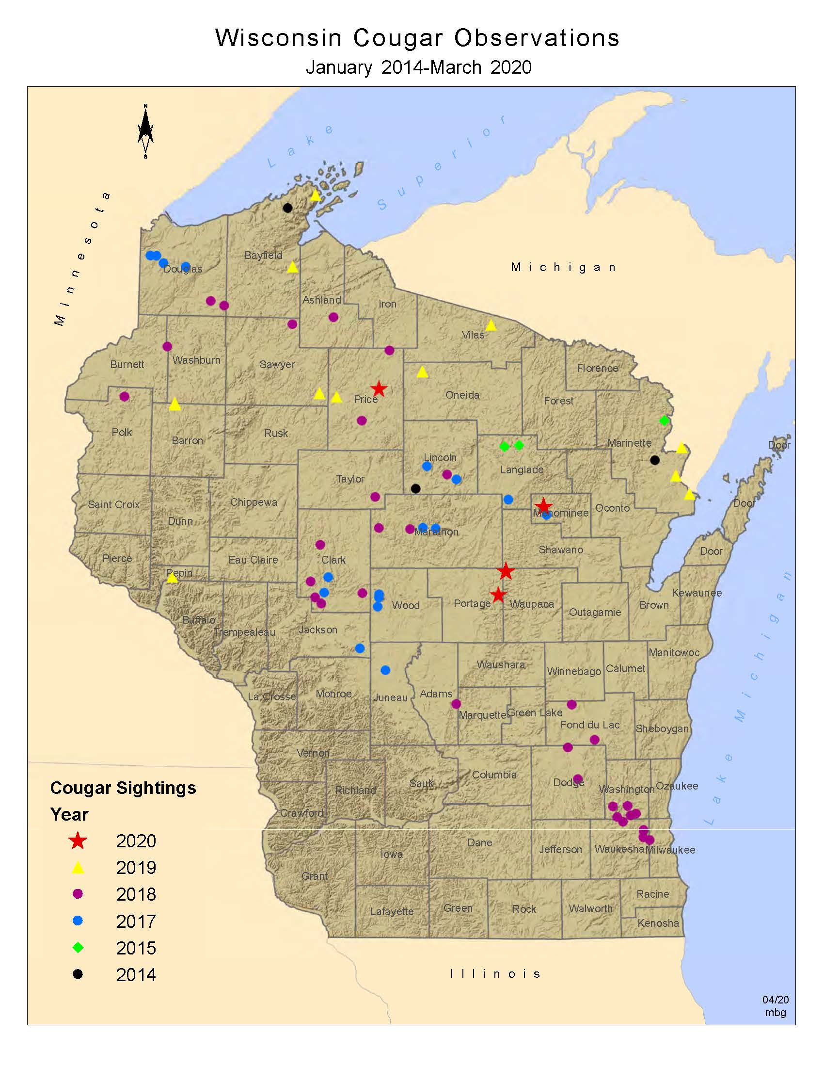 Map of cougar observations from 2009-12