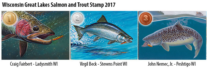Great Lakes salmon and trout stamp finalists