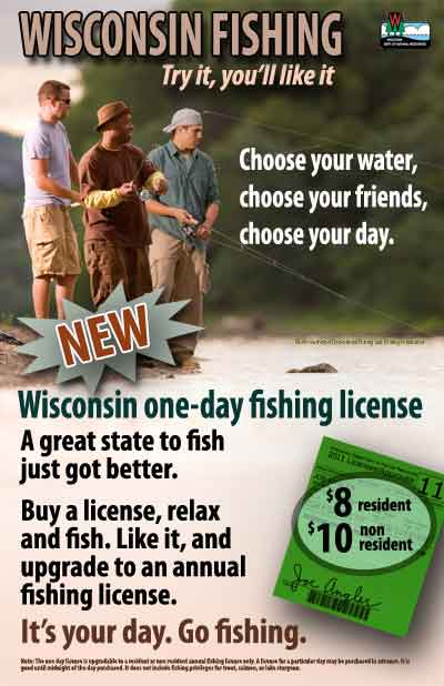 One day fishing license wisconsin dnr for Wisconsin dnr fishing report
