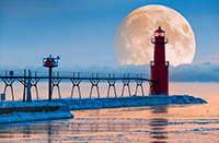 Algoma Lighthouse Moonrise by James Brey