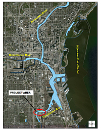 The Kinnickinnic River Project area relative to the Milwaukee Estuary AOC.