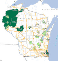 Nine key element plan map: active watershed/lake plan areas