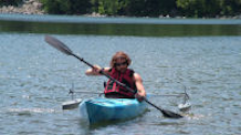 DNR Accessibility Coordinator Andy Janicki out for a paddle in the adapted kayak. Andy is a C5-6 quadriplegic.