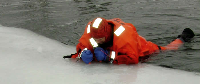 DNR demonstration of ice self-rescue