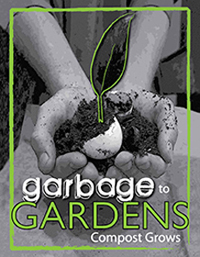"An illustrated image of a plant growing from a lump of compost, cupped in a pair of hands, with the caption, ""Garbage to gardens, compost grows"""