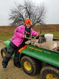 Mandy Pagel with her first buck.