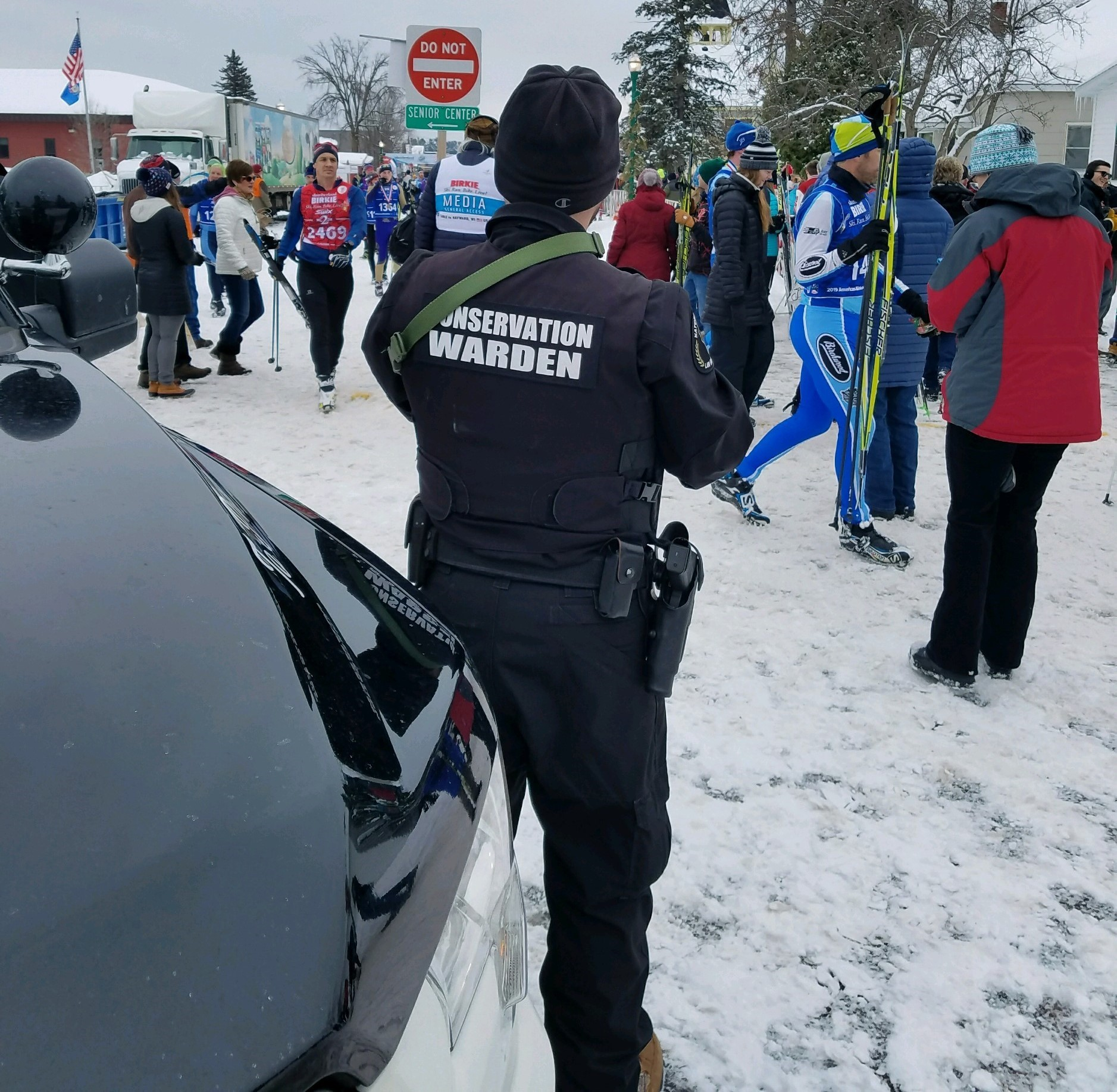 Warden Josh Loining providing security at the finish line of the Birkebeiner.