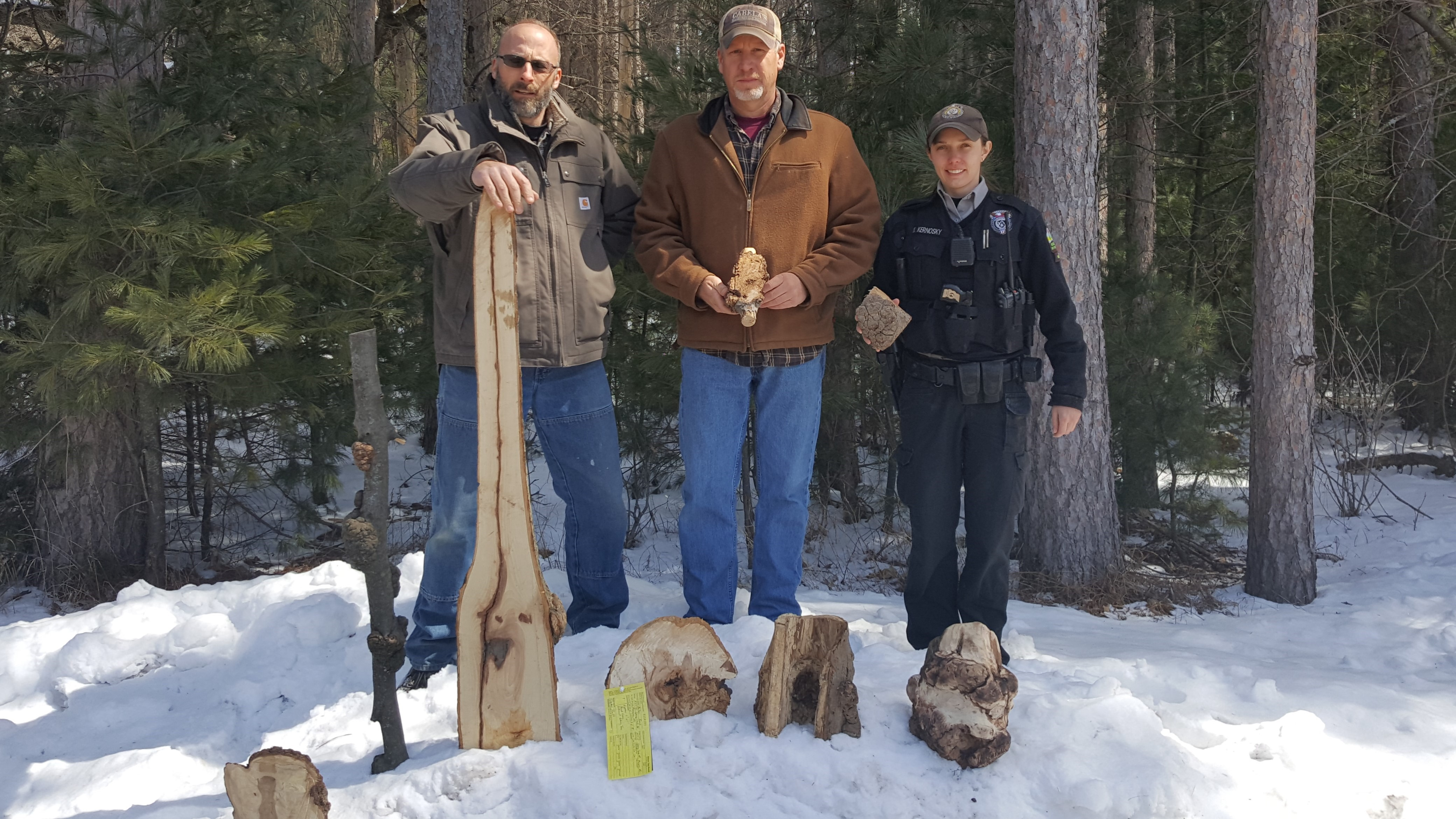 Forester Ben Baumgart, WDNR Warden Lt. Ted Dremel and WDNR Conservation Warden Kaitlin Kernosky with some of the stolen burls.