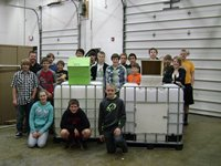 The Fall Creek Technical Education Class and the two carcass boxes they built.
