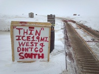 Good advice greets spearfishers at Quinney on Lake Winnebago.