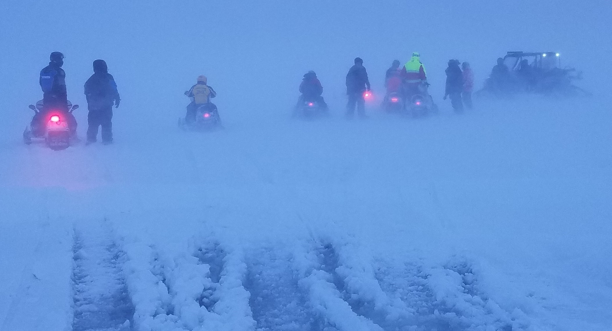 WDNR Wardens, Sturgeon Bay Fire Department members and a good samaritan gather to rescue 30 ice anglers trapped in a whiteout on February 24!