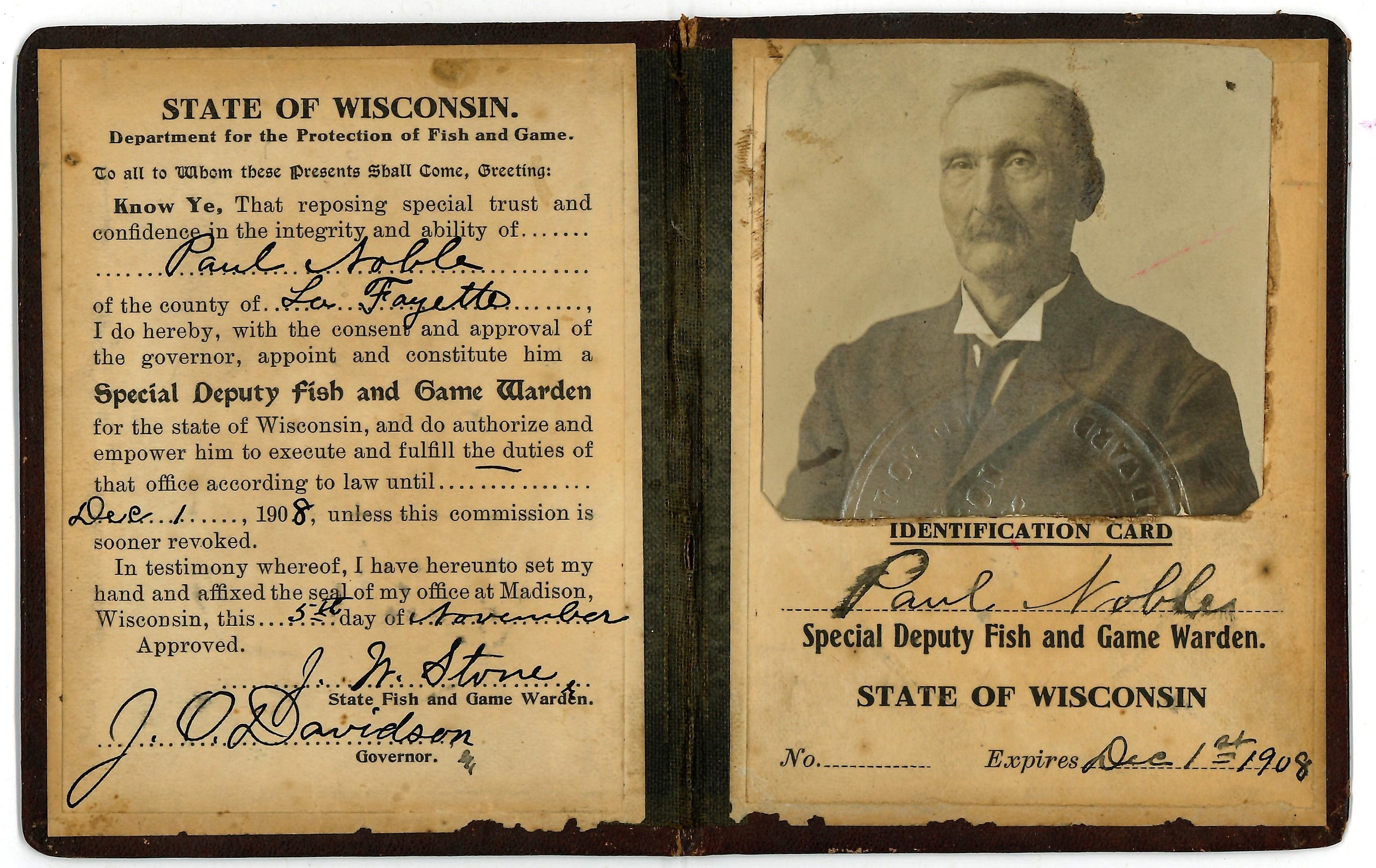 The original credentials of Kings' grandfather of varying 'greats'. Noble served as a Wisconsin Special Deputy Fish and Game Warden in the early 1900s.