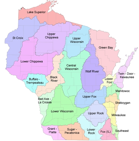 Watershed Basins Wisconsin DNR - Watershed map of us